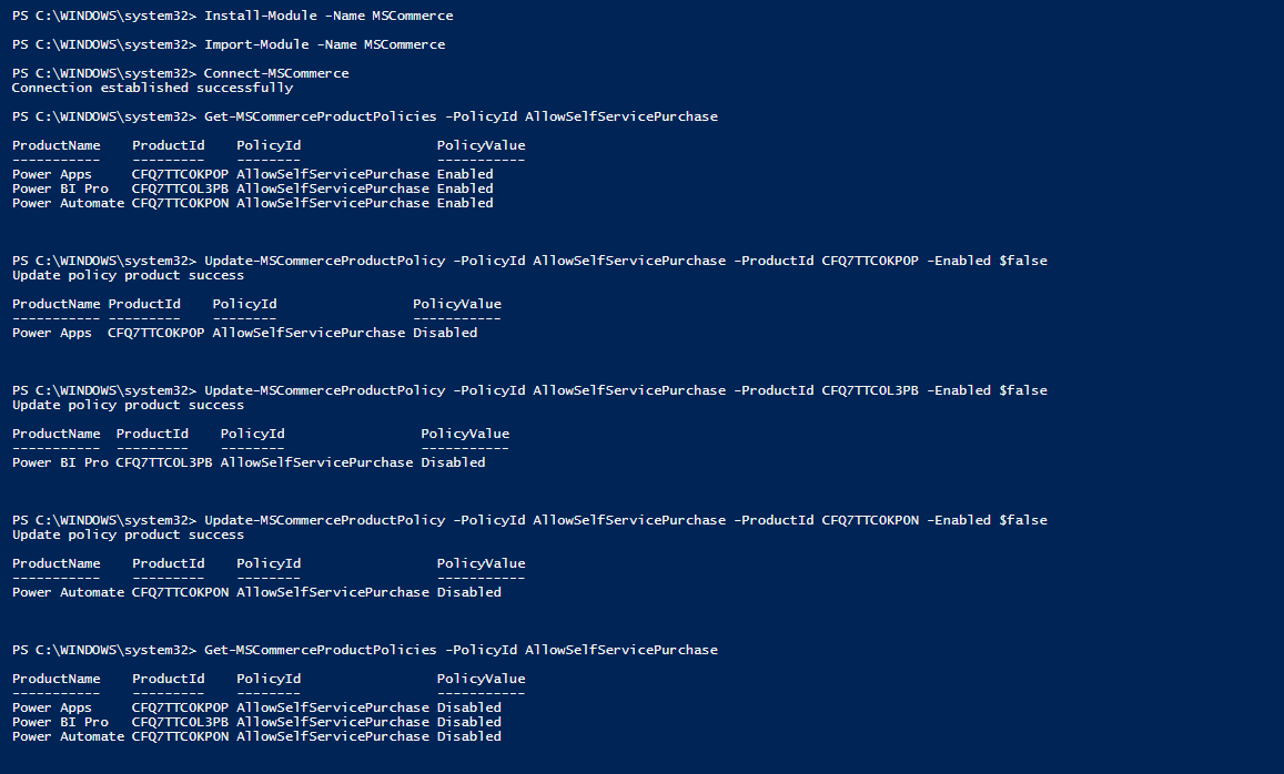 Block Self service Purchase using PowerShell