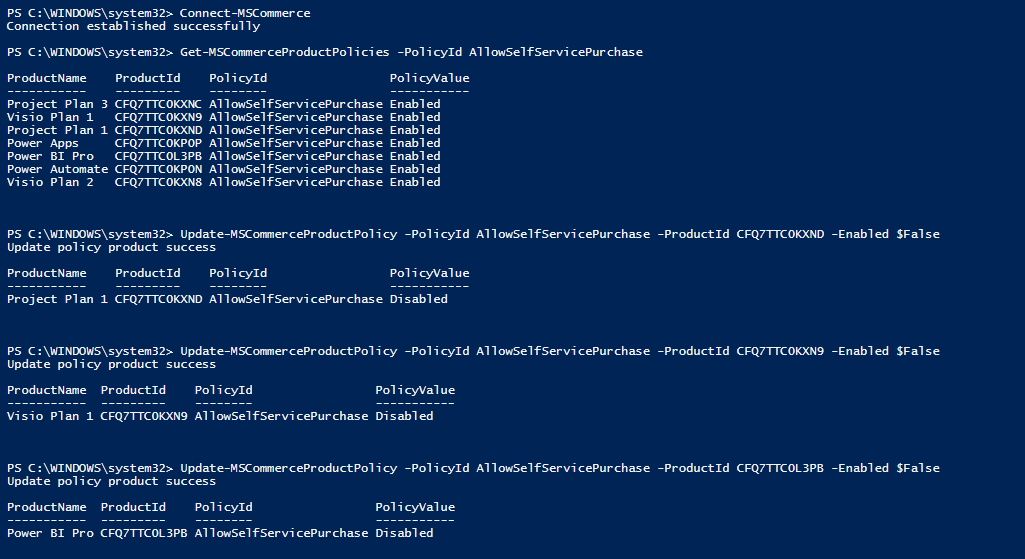 Block self service purchase PowerShell